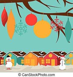 vetorial, desenho, illustration., natal