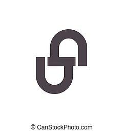 vetorial, desenho, ligado, letra, onu, geomã©´ricas, ...