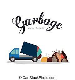 vetorial, desenho, lixo, illustration.