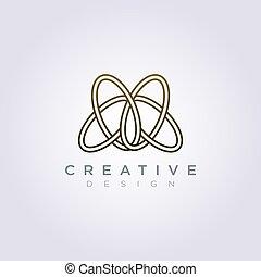 vetorial, desenho, luxo, logotipo, círculo, linha, ícone