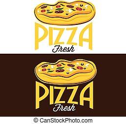 vetorial, desenho, modelo, pizza