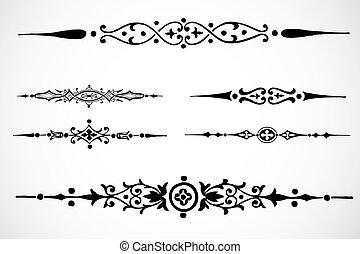 vetorial, desenho, ornamentos