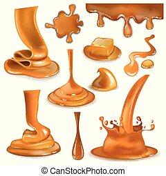 vetorial, despejar, jogo, líquido, gota, doce, respingue, isolado, ilustração, chocolate, caramelcandies, cremoso, respingo, caramelo, fundo, fluir, branca, gotas, molho, ou, creme