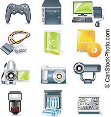 vetorial, detalhado, partes computador, ícone