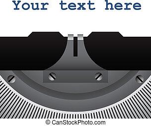 vetorial, detalhe, de, vindima, máquina escrever