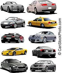 vetorial, dez, carros, ilustração, road.