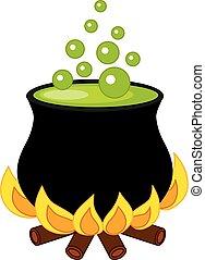 vetorial, dia das bruxas, cauldron, com, poção, e, bolhas