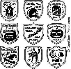 vetorial, dia das bruxas, etiquetas, set., com, abóbora, cranio, fantasma, cauldron, morcego, chapéu bruxa, gato, etc.