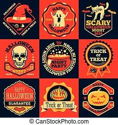 vetorial, dia das bruxas, luminoso, etiquetas, jogo, com, -, fantasma, chapéu bruxa, cranio, gato, abóbora, cauldron, etc.