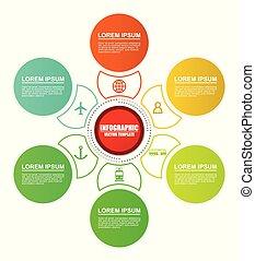 vetorial, diagram., modelo, options., estradas ferro, despacho, infographic, transporte aviação, 6, mundo, apresentação, transporte, estrada