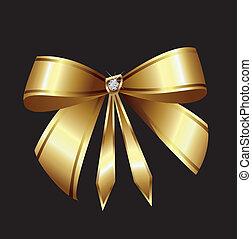 vetorial, diamante, fita ouro