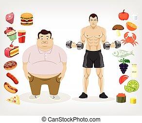 vetorial, dieta, apartamento, ilustração