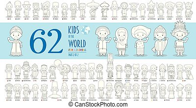 vetorial, diferente, coloração, crianças, crianças, cobrança, style., 62, jogo, 2:, caráteres, nacionalidades, mundo, parte, caricatura