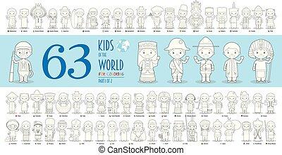 vetorial, diferente, coloração, jogo, crianças, 1:, crianças, cobrança, style., 63, caráteres, nacionalidades, mundo, parte, caricatura