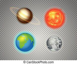 vetorial, diferente, elementos, sol, sistema, isolado, jogo, transparente