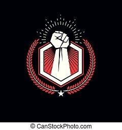 vetorial, diferente, gráfico, lutador, elements., criado, atlético, logo., símbolo, escudo, clenched, asas, clube, proteção, punho, conceitual, usando, homem forte, pássaro