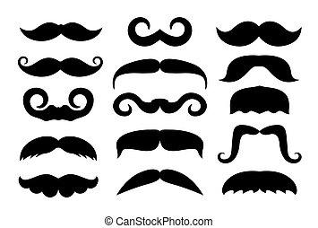 vetorial, diferente, jogo, bigode, icons.