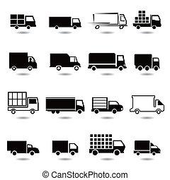 vetorial, diferente, jogo, caminhão, icons.
