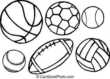 vetorial, diferente, jogo, desporto, balls.