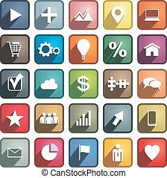 vetorial, diferente, jogo, icons., negócio