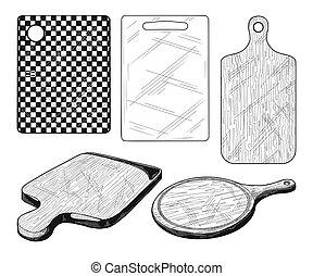 vetorial, diferente, jogo, placas, cutting.