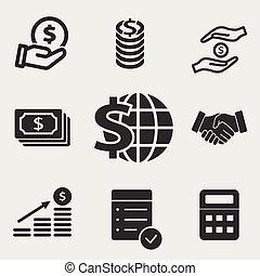 vetorial, dinheiro, ícones, jogo