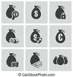 vetorial, dinheiro, jogo, pretas, ícones