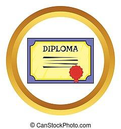 vetorial, diploma, ícone