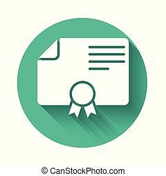 vetorial, diploma, certificado., negócio, certificado, distinção, concessão, isolado, longo, shadow., branca, button., verde, ilustração, modelo, grau, sucesso, concepts., ícone, círculo, realização