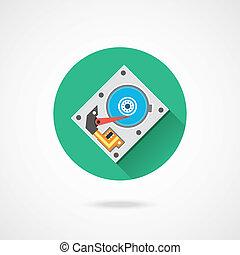 vetorial, disco rígido, ícone