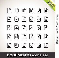 vetorial, documentos, ícone, jogo, esboço