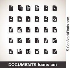 vetorial, documentos, ícone, jogo