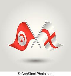 vetorial, dois, cruzado, tunisian, e, inglês, bandeiras, ligado, prata, varas, -, símbolo, de, tunísia, e, inglaterra