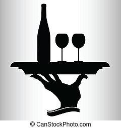 vetorial, dois, garrafa, vinho