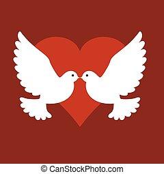 vetorial, dois pássaros, com, coração