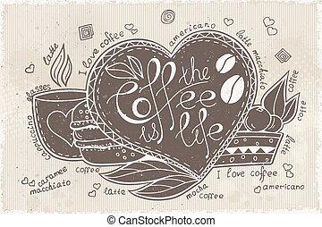 vetorial, doodle, desenhado, mão, com, lettering, café, é, vida