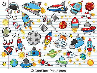 vetorial, doodle, jogo, espaço exterior
