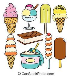 vetorial, doodle, jogo, sorvete