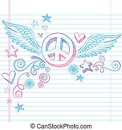 vetorial, doodle, paz, asas, sinal