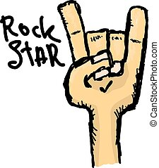 vetorial, doodle, sinal mão, rolo rocha n, música
