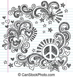 vetorial, doodles, paz, amor