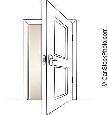 vetorial, door., abertos, isolado, ilustração