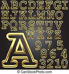 vetorial, dourado, alfabeto