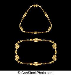 vetorial, dourado, bordas