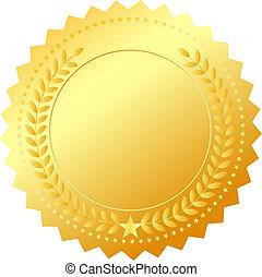 vetorial, dourado, distinção, emblema