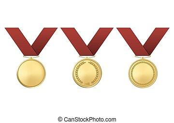 vetorial, dourado, distinção, medalhas, jogo, isolado, branco, experiência.