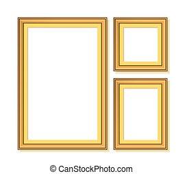 vetorial, dourado, jogo, ilustração, frames.