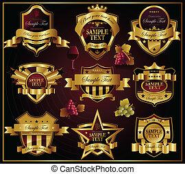vetorial, dourado, labels:, vinho, e, alco