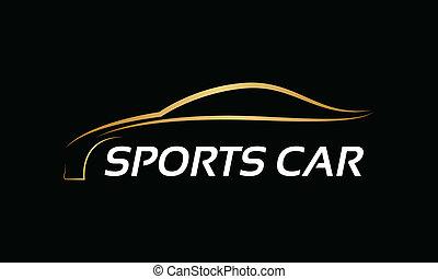 vetorial, dourado, logotipo, serviço carro