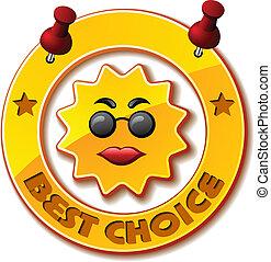 vetorial, dourado, melhor, escolha, sol